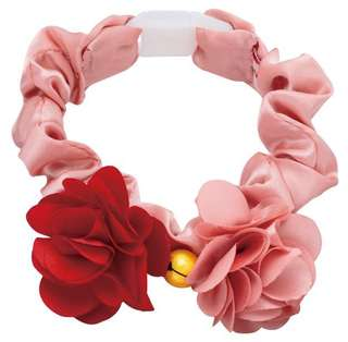 Cat collar accessory - red pink satin flower collar  with safety lock and bell