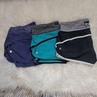 Lululemon speed shorts lot of 3 pairs size 6
