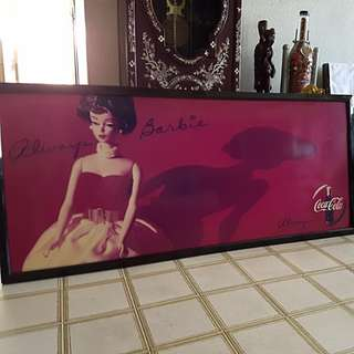 "Collectors' Dream. Brand New, Authentic and Antique ""Always Barbie, Always Coca-Cola"" Portrait. Length 148cm. Height 66cm. Frame Thickness 4cm."