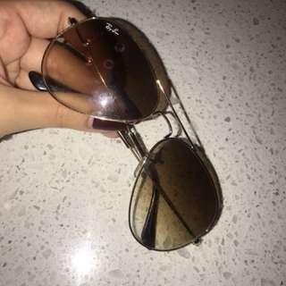 RayBan Aviators Gold Frame Brown Gradient Lens Reg Size