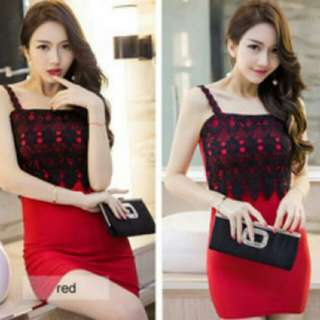 #Huat50Sale Red Lace Dress