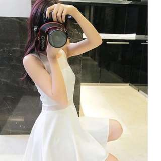 White sleeveless dress with mesh