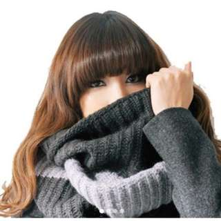 Winter scarf semi woolen gray
