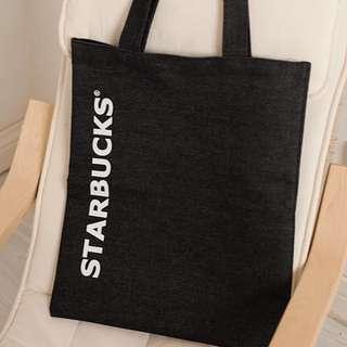 星巴克 starbucks 黑色 牛仔料 環保袋/購物環保袋