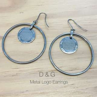 D&G vintage metal logo earrings