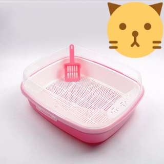 Cat Litter Box with Scoop - Pink