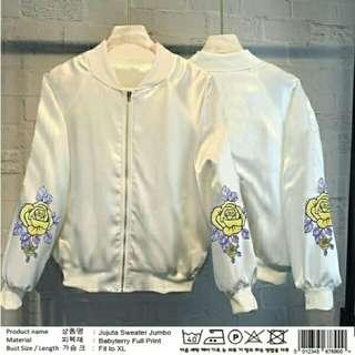 White Sweater Jujuta  BAHAN BABYTERY FULL PRINT ,SIZE FIT TO XL LD100CM,PB65CM