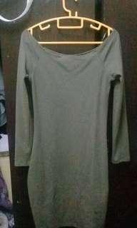 Dress cotton on off shoulder