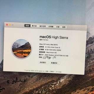 iMac 27 2011 8GRam 1tb i5 新淨