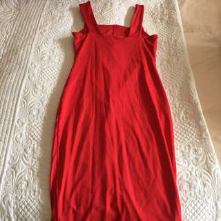 Kookaï size 1 red tight dress three quarter length