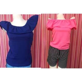 💕 Take All (2pcs) Plain Off Shoulder Sleeveless For Women