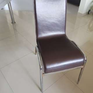 PL Brown Faux Leather Chairs. 3 pieces.