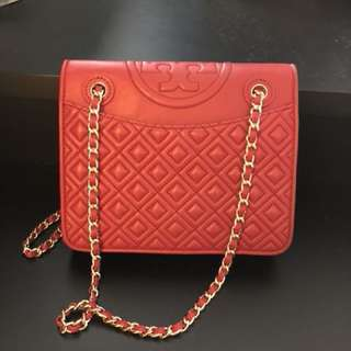 Tory Burch Red Fleming Chain Shoulder Bag