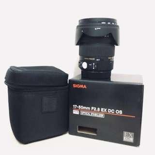 Sigma 17-50mm F2.8 EX DC OS W/ HOYA 77mm UV FILTER (CANON MOUNT)
