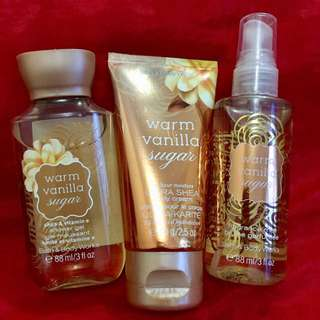 Authentic B&BW Travel Set - Warm Vanilla Sugar - Includes: 3oz body mist, 2.5oz Body Cream, 3 fl oz shower gel