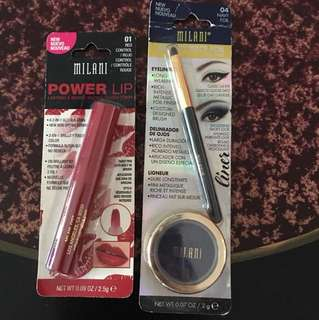 Milani power lip red control, fierce foil eyeliner