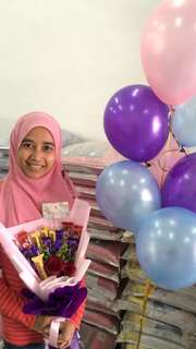 Helium Balloon + choclate and flower bouquet