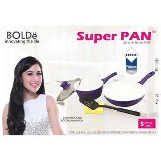 Cookware Set Super Pan Panci Set Ungu Isi 5 Pcs Anti Lengket By Bolde