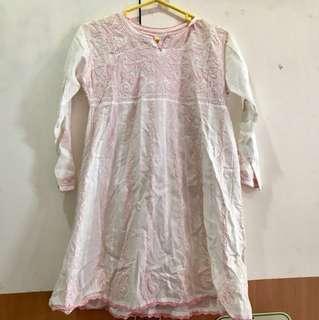 Sari india putih pink