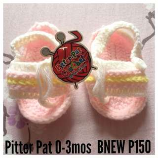 Bnew pitterpat crochet shoes 0-3mos