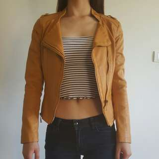 Orange Brown Biker Leather Jacket