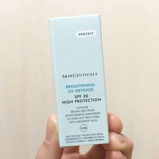 (1支)SkinCeuticals 美白亮肌UV防曬霜 Brightening UV Defense SPF 30 High Protection (3ml 試用裝 sample)