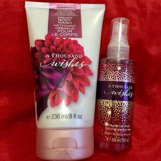 Authentic B&BW Essentials Set - A Thousand Wishes - Includes: 1 pc 8fl oz Creamy Body Wash and 1 pc 3fl oz Fragrance Mist