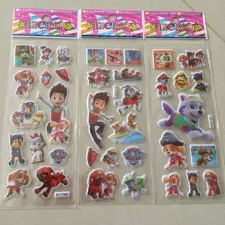 $0.30 each sheet of paw patrol puffy sticker