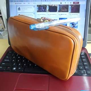 99.9% New 真皮 made in Japan leather Pouch Clutch Cosmetic Bag 袋 iPhone Porter Sony