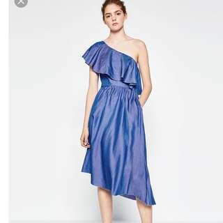 asymmetric soft denim dress