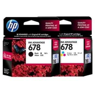 Tinta Original HP INK Advantage 678 Black Hitam & Colour Warna Cartridge