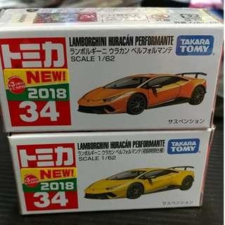 全新現貨 日本貼紙 TAKARA tomy Tomica bx 034 lamborghinihuracan performante  2018 初回版和 普通合金figure 車