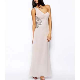BNWT Lipsy One Shoulder Embellished Gown with Thigh Split