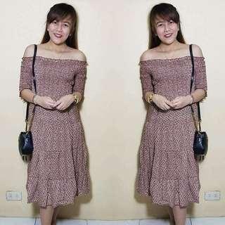 Korean off sho maxi dress