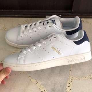 Adidas Stan Smith gold wording pastel blue