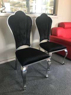 Formal Stainless Steel Dining Chair x2