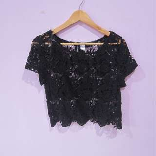 Top lace crochet divided H&M