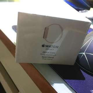 全新apple watch series 3 GPS 金色鋁粉帶