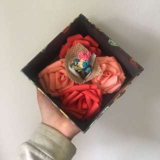 Small bouquet dried flower with handmade paper rose