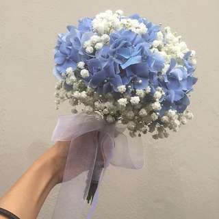 Bridal bouquet hydrangea blue