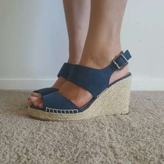 Blue Velvet Wedge Sandals