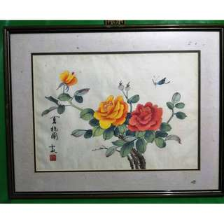 Chinese painting summer rose, 中国画夏日玖瑰