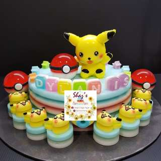 Customised Pikachu Pokemon Theme Jelly Agar Birthday Cake