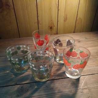 🚚 花卉水果紋玻璃杯—古物舊貨、台灣早期玻璃杯