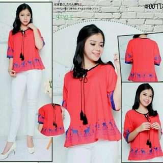 BLOUSE RUSA RED  Bhaan katun rayon (good quaity), fit to XL, LD 100 + acc tali