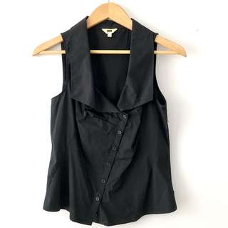 Cue asymmetrical button up sleeveless blouse / shirt in black