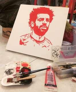 Liverpool M.Salah Hand Painted Portrait