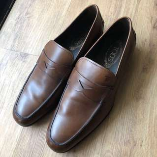 Tods Men's Brown Leather Loafers Genuine UK8 US9.5 to US10