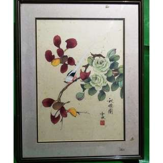 Chinese painting autumn flowers and birds 2, 中国画秋天花鸟 2