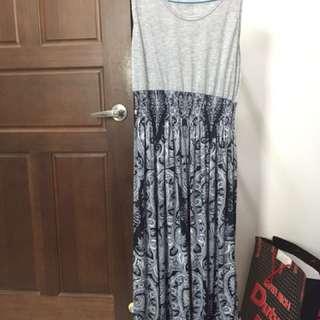 圖騰無袖連身長洋裝